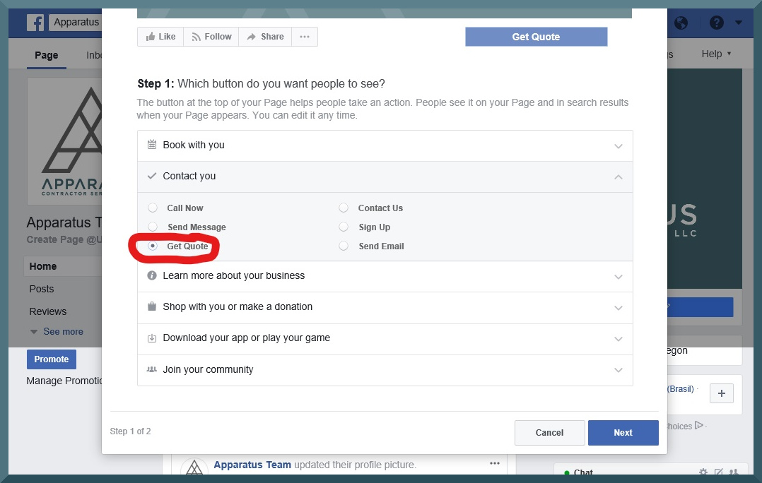 facebook business page step 7