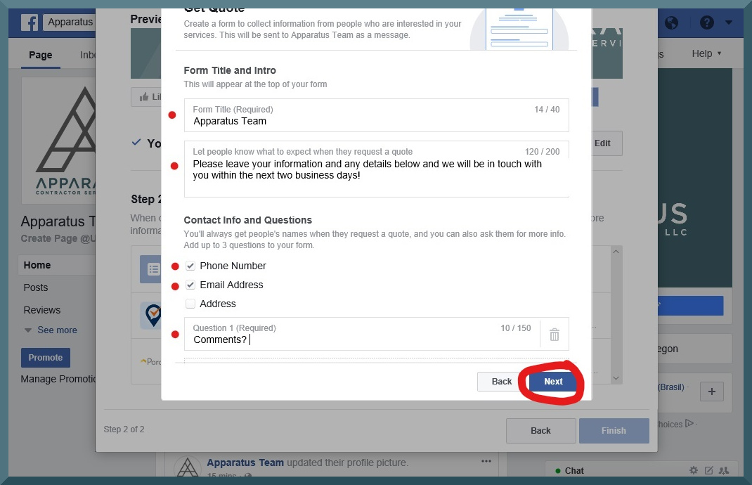 facebook business page step 8